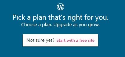 """Bạn chọn vào """"Start with a free site"""" để tiếp tục sử dụng miễn phí"""