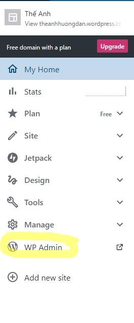 Truy cập vào trang quản trị wp-admin