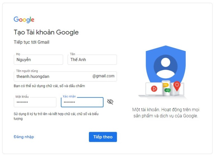 Tạo tài khoản gmail mới